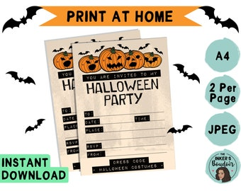 A5 | Printable Scary Pumpkin Halloween Kids Party Invitation | JPEG A4 | Costume Invite Instant Digital Download | Stationery Print at Home