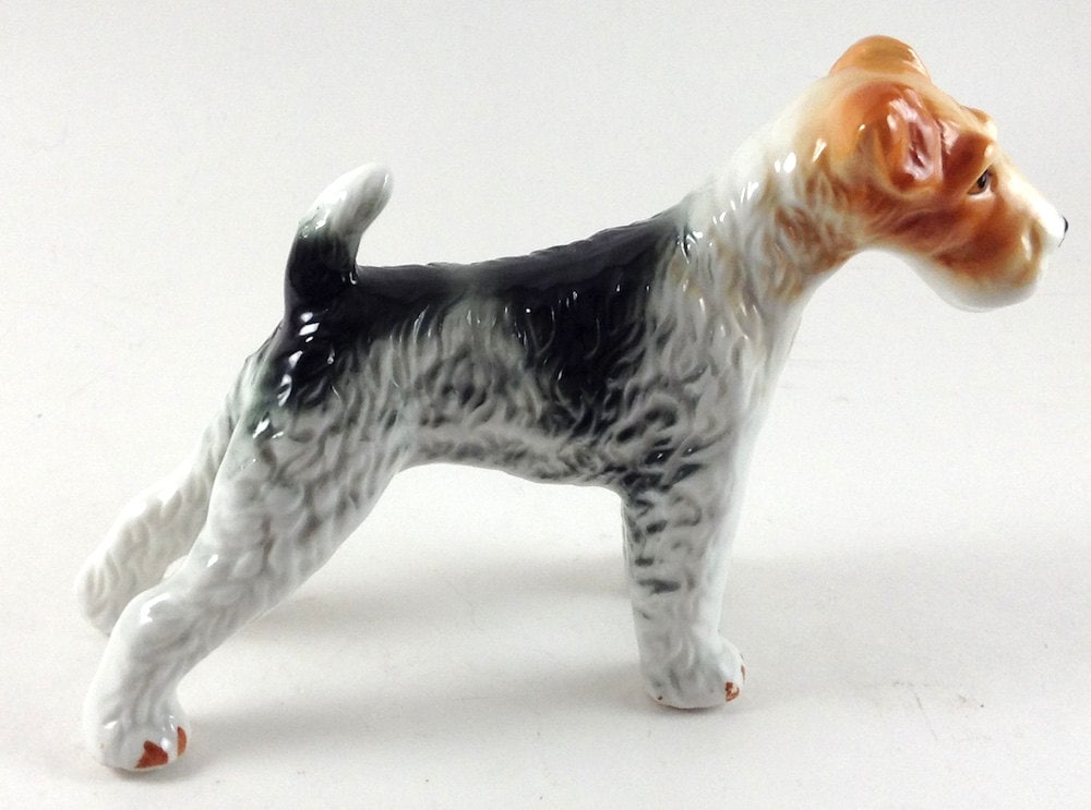 Ceramic Dog Wire Haired Fox Terrier Dog Collectibles Wire