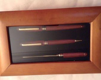 Wooden Pen Desk Set/Wood Presentation Box/Roller Ball Pen/Ballpoint Pen/Mechanical Pencil/Office Desk Set/Desk Accessories/Groomsman Gift