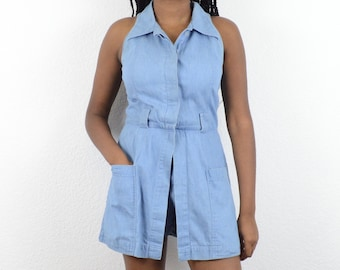 cf680814fec Vintage 90s Denim Collared Sleeveless Romper