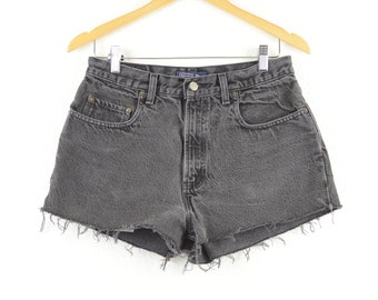 e4b9df6f57 Vintage 90s Old Navy High Rise Denim Faded Black Cutoff Raw Hem Shorts Size  31