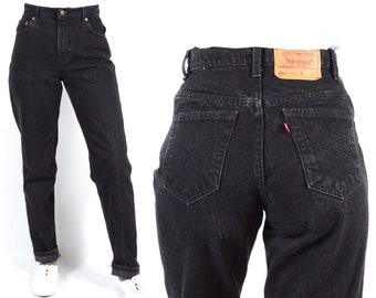 33884ba2 Levi's 551 Size 28 High Rise Relaxed Fit Tapered Leg Black Denim Mom Jeans