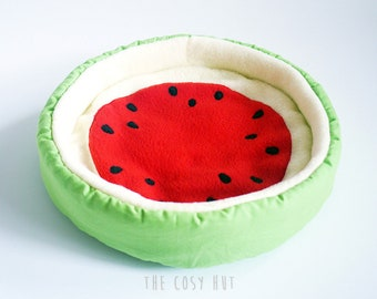 guinea pig bed, hedgehog bed, pet bed, cosy cuddle cup, fleece sofa, watermelon bed for guinea pigs or hedgehogs