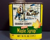 Vintage Ohio Maple Syrup Tin - From Famous Geauga County - Log Cabin Scene
