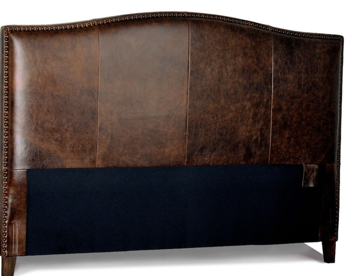 Featured listing image: Queen Size Antique brown Leather headboard for Bed with Distressed Nail Heads