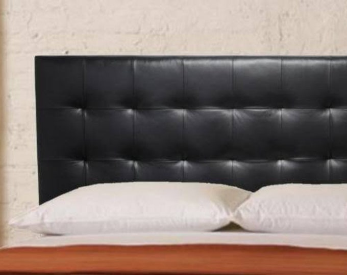 Featured listing image: Wall Mounted Full size Headboard, Upholstered in Black Genuine Leather