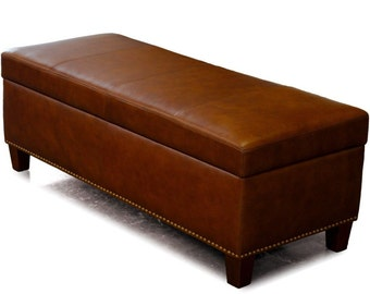 Leather Storage Bench, Coffee Table, Oversized Ottoman with Nail Heads