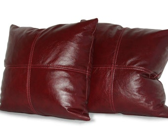 "Square Genuine Leather Accent, Throw Pillows - SET OF 2 - Choice of 18"", 20"" or 22"""