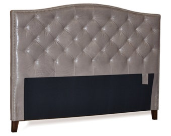 King Size Grey Genuine Leather, Diamond Tufted Headboard with Pewter Nail Heads