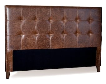 King Size Mink Brown Genuine Leather Tufted Headboard
