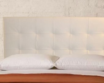Wall Mounted King size Headboard, Upholstered in White Genuine Leather