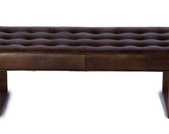 Retro - Modern Genuine Leather Bench, Ottoman, Coffee Table