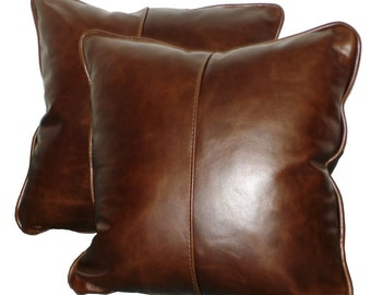 "Square Genuine Leather Accent, Throw Pillows - SET OF 2 - 16"", 18"", 20"" or 22"""