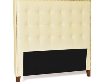King Size Ivory-Cream Genuine Leather Buttonless Tufted Headboard with Nail Head Trim