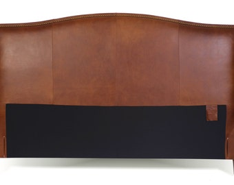 Queen Size Leather Headboard in Tobacco Brown Genuine Leather with Brass Nail Heads