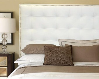 Queen Size White Genuine Leather Buttonless Tufted Headboard with Nail Head Trim