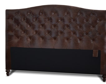 Queen Size Brunette Genuine Leather, Diamond Tufted Headboard w/ Leather Button or Buttonless Tufting