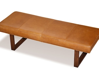 Distressed Brown Genuine Leather Upholstered Bench, Ottoman, Coffee Table
