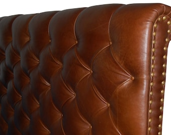 California King Size Chesterfield Headboard, Deep button tufting and Nail Heads in Jack Daniels Genuine Leather