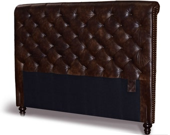 Queen Size Chesterfield Headboard, Deep button tufting and Nail Heads in two tone Tobacco Genuine Leather