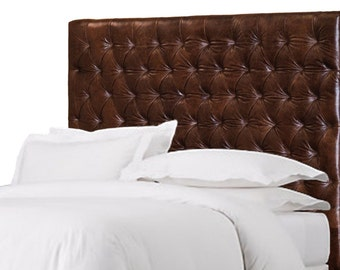 King Size Chesterfield Headboard w/ Deep Buttonless, Diamond Tufting in Mink color Genuine Leather