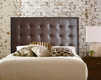 Wall Mounted Queen size Extra-Tall Headboard, Upholstered in Chocolate Genuine Leather with Nail Head Trim