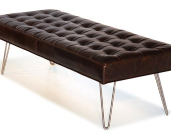 Mid Century Modern, Dark Brown, Button Tufting Leather Bench Ottoman Coffee Table