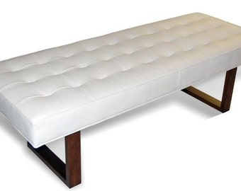 Retro - Modern White Genuine Leather Bench, Ottoman, Coffee Table