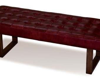 Retro - Modern Merlot Red Genuine Leather Bench, Ottoman, Coffee Table
