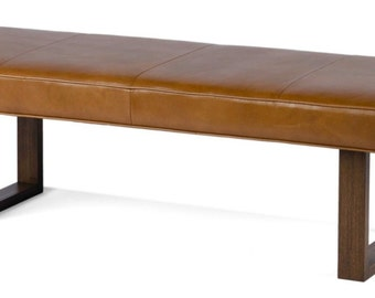 Brown Sugar Genuine Leather Upholstered Bench, Ottoman, Coffee Table