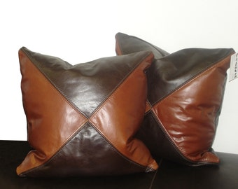 "Genuine Leather Accent Pillows, Throw pillow 18""X18"" - SET OF 2"