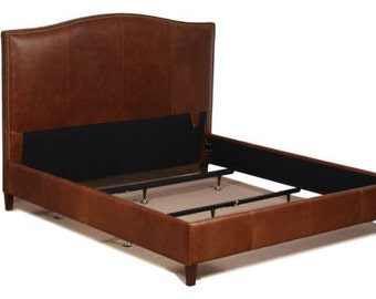 King or California King Size Leather Bed in Tobacco Brown Genuine Leather