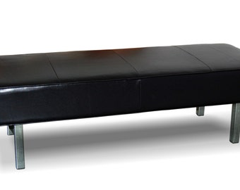 "50"" Ultra Contemporary, Black Genuine Leather Bench, Ottoman with Chrome Legs"