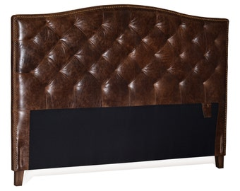 Queen Size Antique Brown Genuine Leather, Diamond Tufted Headboard with Brass Nail Heads