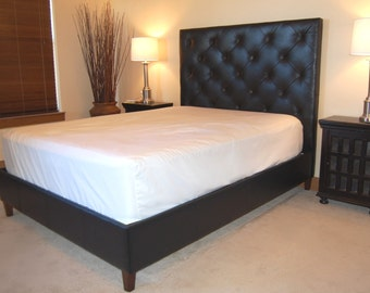 Modern Queen Size Diamond, Tufted Black Genuine Leather Bed