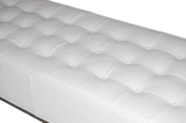 Astounding Contemporary Modern White Genuine Leather Tufted Bench Theyellowbook Wood Chair Design Ideas Theyellowbookinfo