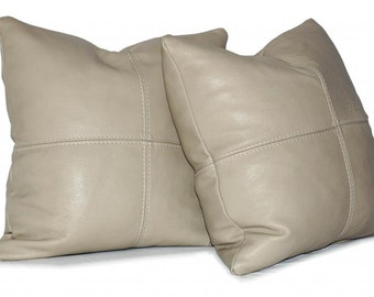"""Square Genuine Leather Accent, Throw Pillows - SET OF 2 - Choice of 18"""", 20"""" or 22"""""""