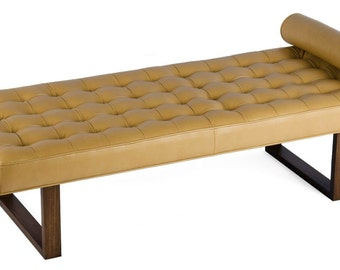 Retro - Modern Tufted Leather Daybed, Lounge Chaise, Bench