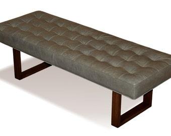Retro - Modern Genuine Leather Bench, Ottoman, Coffee Table