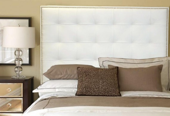 pretty nice 9d2a8 8482b King Size White Genuine Leather Buttonless Tufted Headboard with Nail Head  Trim