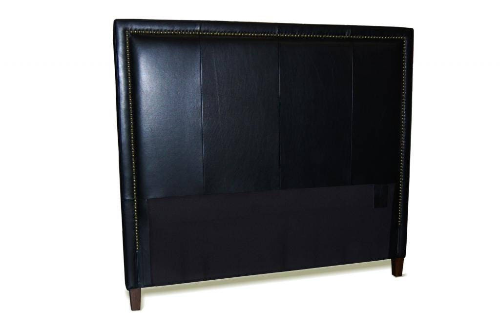 King Size Black Genuine Leather Headboard With Nail Head Trim