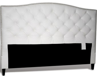 King Size White Genuine Leather, Diamond Tufted Headboard with Pewter Nail Heads