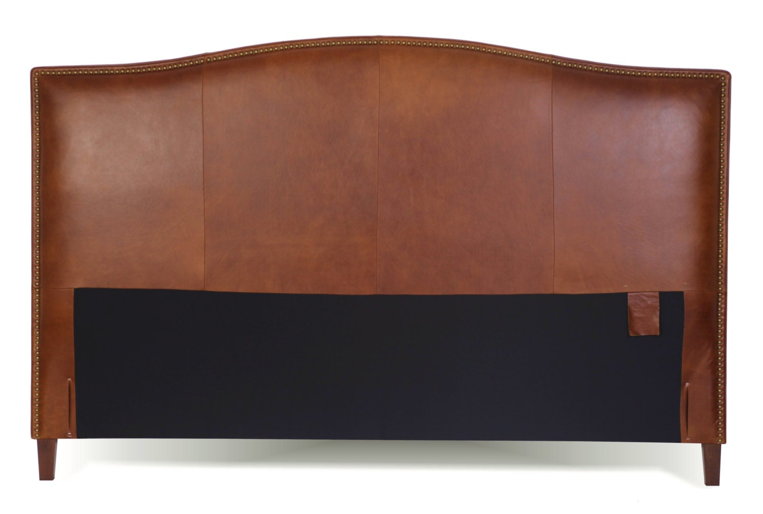 California King Size Tobacco Brown Leather Headboard For