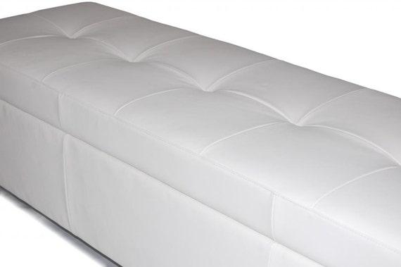Incredible Contemporary King Size White Genuine Leather Tufted Storage Bench Chest Ottoman Inzonedesignstudio Interior Chair Design Inzonedesignstudiocom
