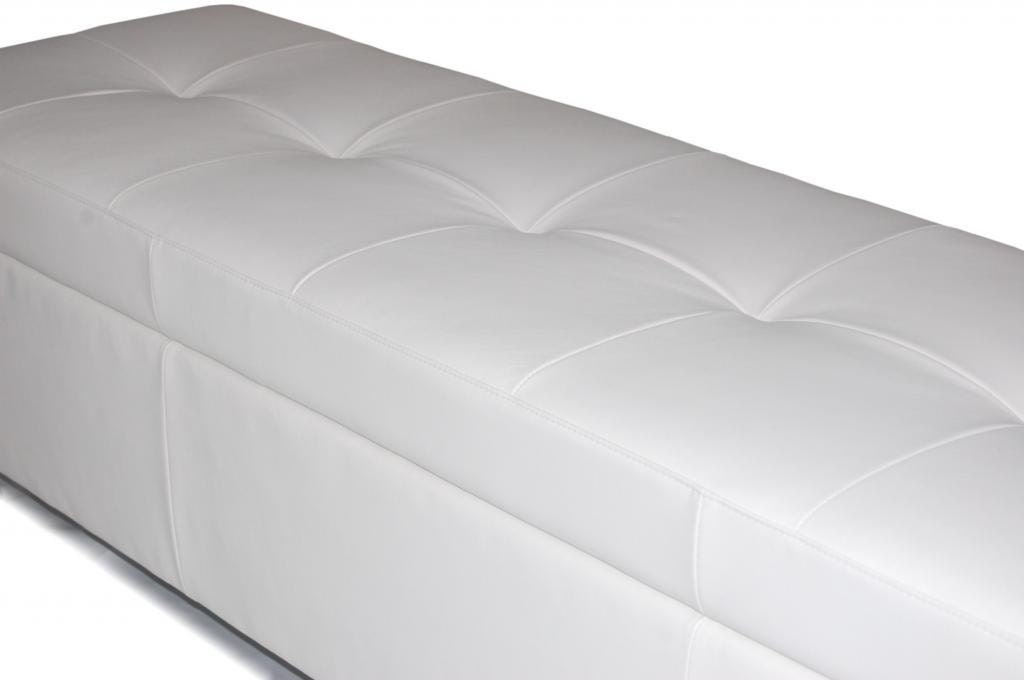 Contemporary King Size White Genuine Leather Tufted