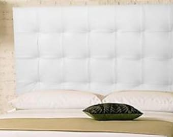 Wall Mounted King size Extra-Tall Headboard, Upholstered in White Genuine Leather