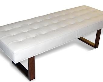 Retro - Modern White Genuine Leather Bench, Ottoman, Coffee Table