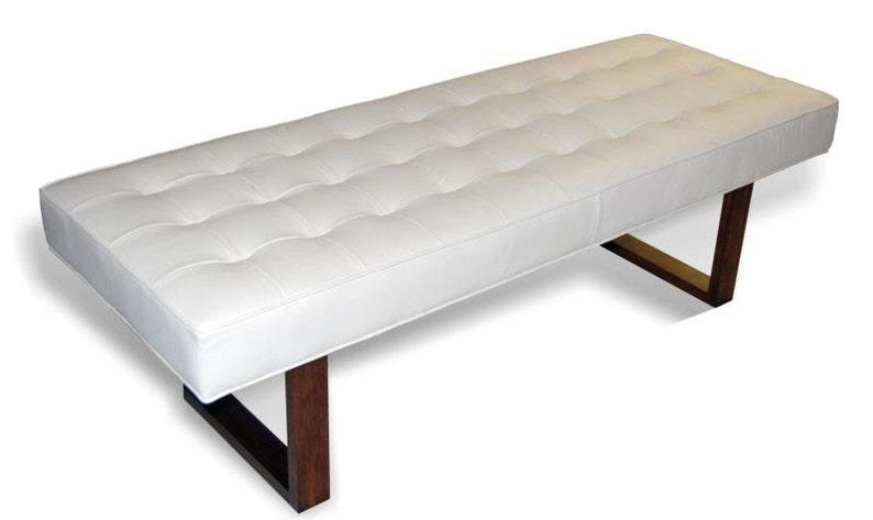 Rétro Moderne Cuir Blanc Véritable Banc Pouf Table Basse Etsy