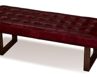 Retro - Modern Merlot Red Genuine Leather Bench, Ottoman, Coffee Table