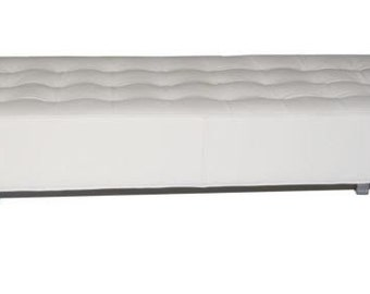 Contemporary & Modern White Genuine Leather Tufted Bench/Ottoman with Chrome Legs